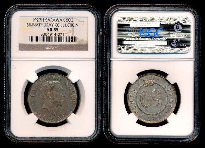 Sarawak CV Brooke 50c 1927H NGC AU55