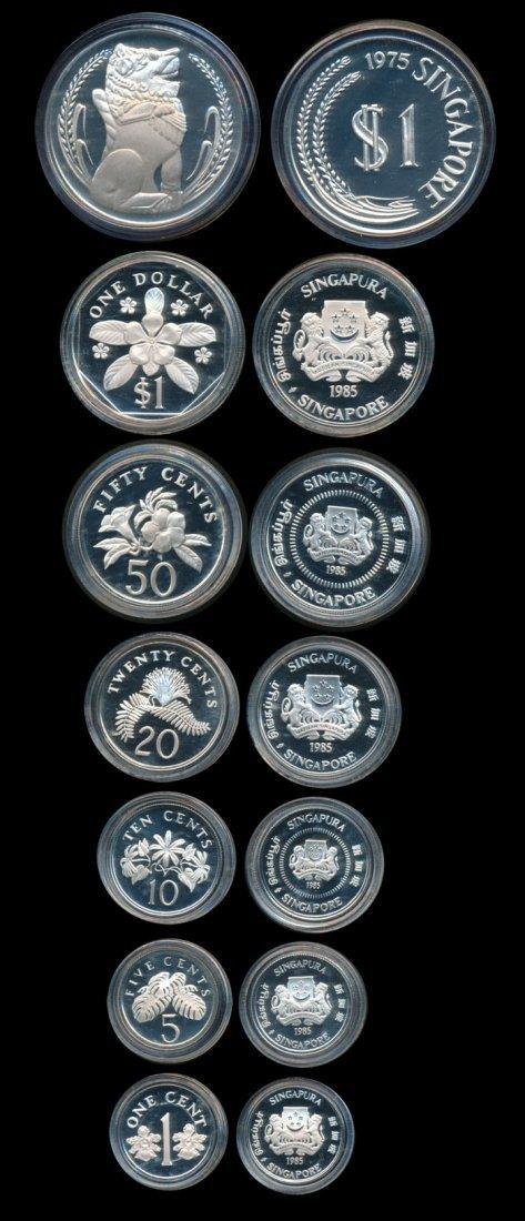 7 Singapore 1c-$1 1985 $1 1975 proofs