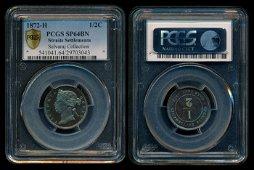 Straits Settlements QV 1/2c 1872H specimen
