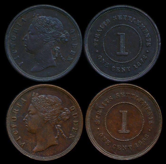 Straits Settlements QV 1c 1872H 1888 EF