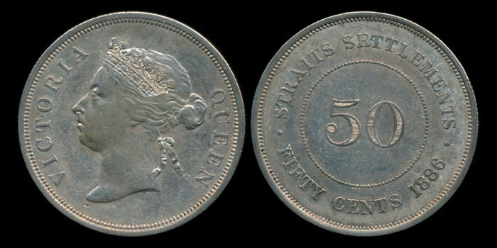 Straits Settlements QV 50c 1886 hairlines AU