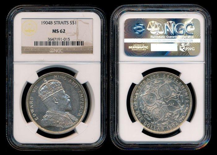 Straits Settlements KEVII $1 1904B  NGC MS62