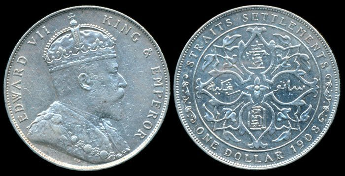 Straits Settlements KEVII $1 1908 VF-EF
