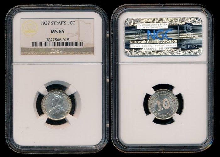 Straits Settlements KGV 10c 1927 NGC MS65