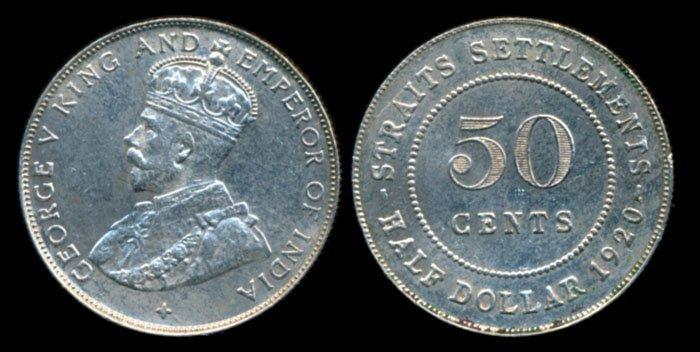 Straits Settlements KGV 50c 1920