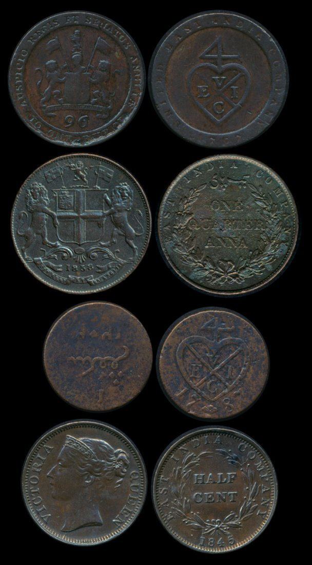 World coins of India Straits Settlements etc
