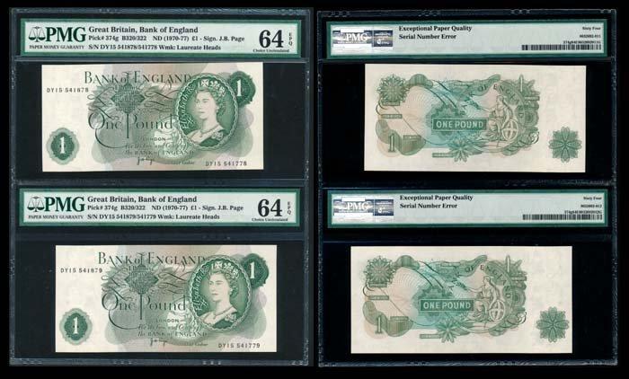 Great Britain 2xPound QEII 1970-77 PMG