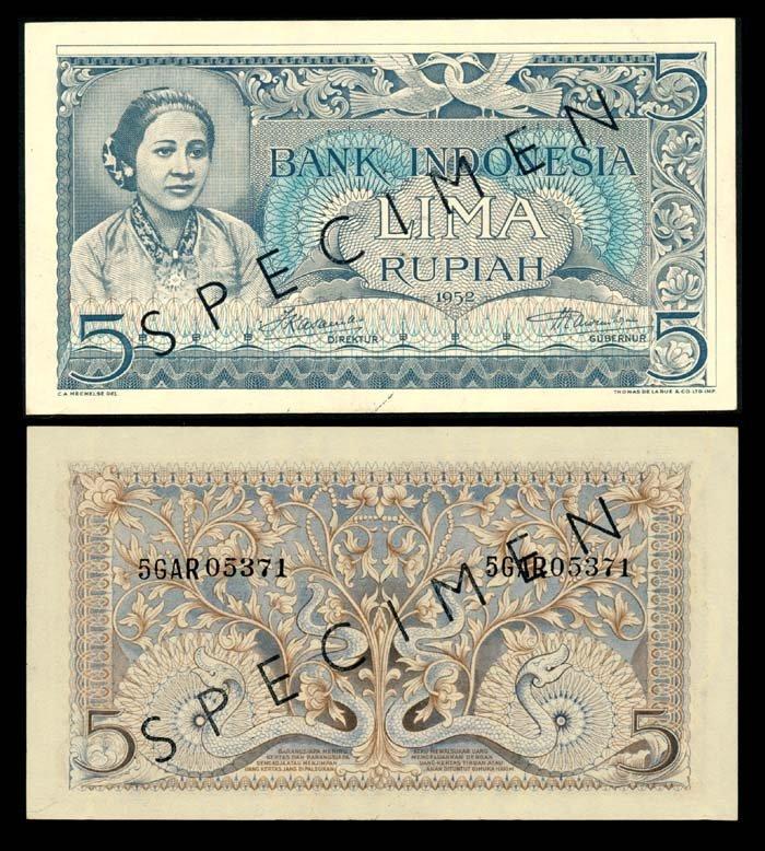 Indonesia 5 Rupiah 1952 specimen AU