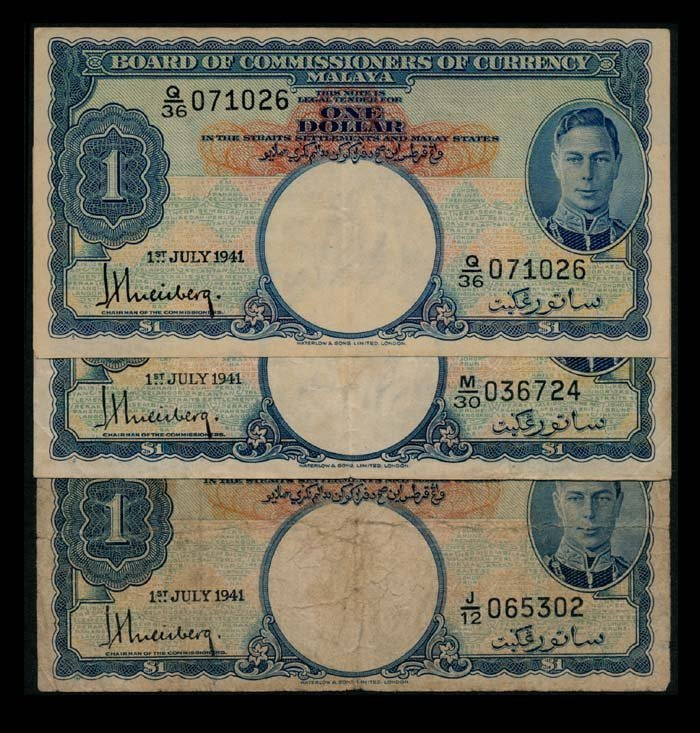 Malaya 3x$1 1941 KGVI