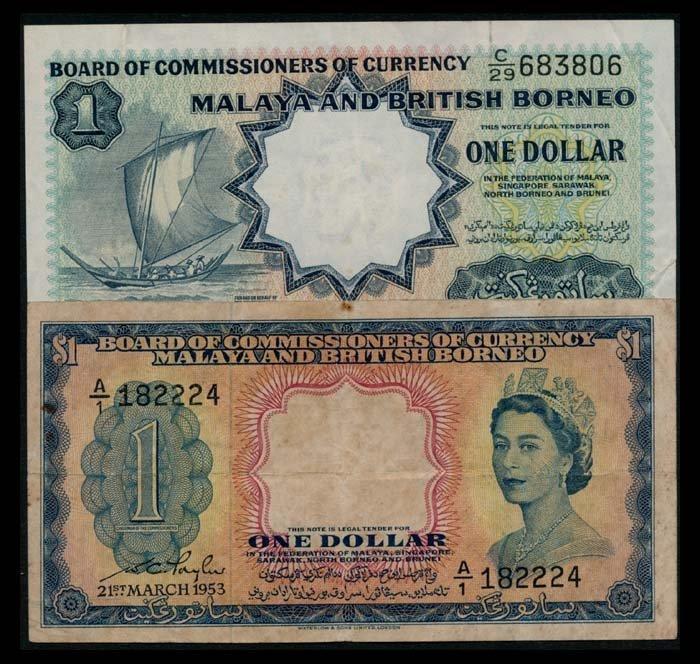 Malaya Br Borneo $1 1953 $1 1959 sailing b