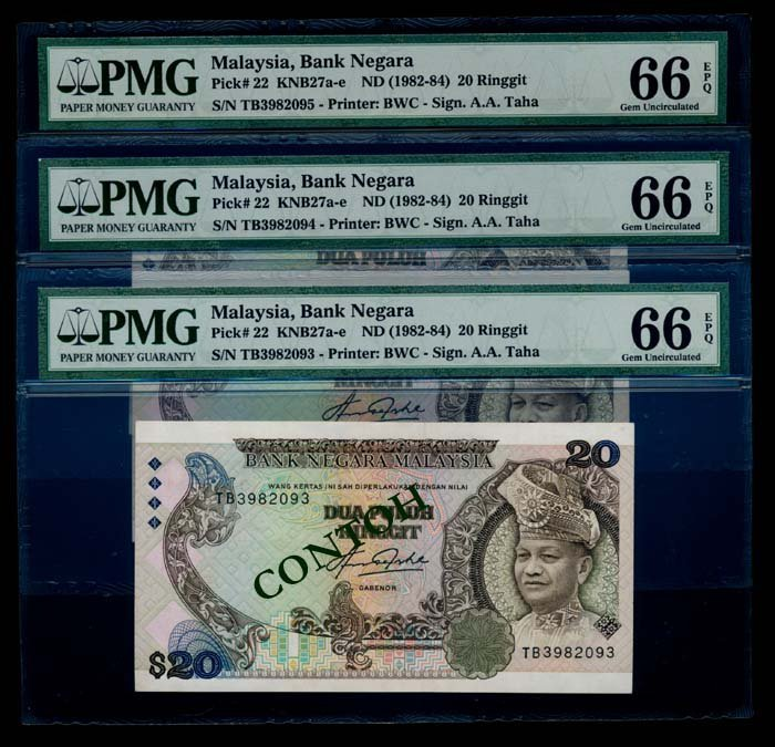 Malaysia 3x$20 1982-84 PMG