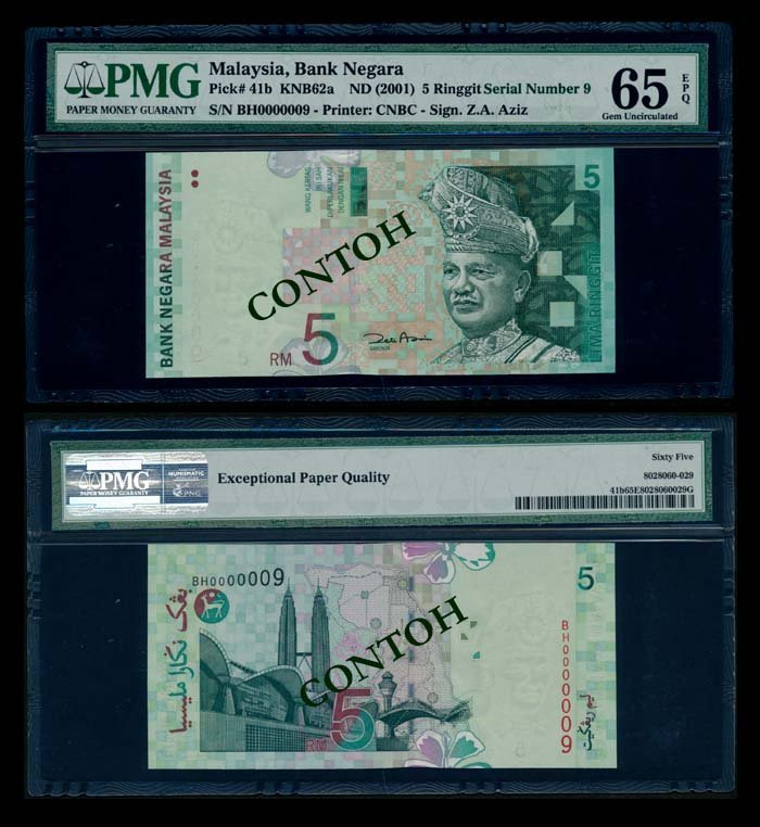 Malaysia RM5 2000 BH0000009 PMG Gem UNC65EPQ