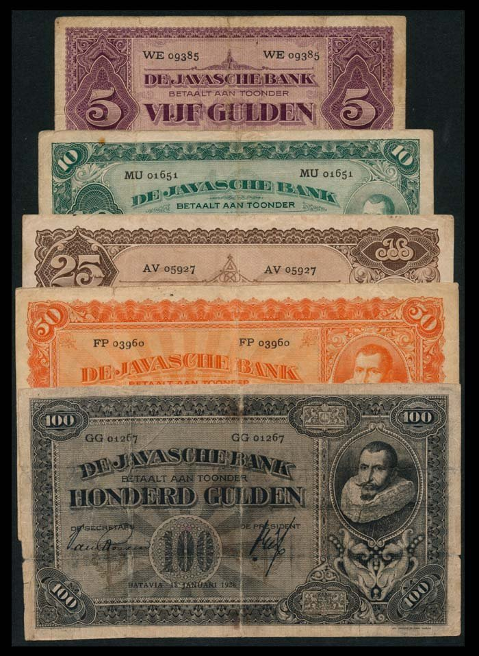 5 Netherlands Indies 5-100 Gulden 1926-30