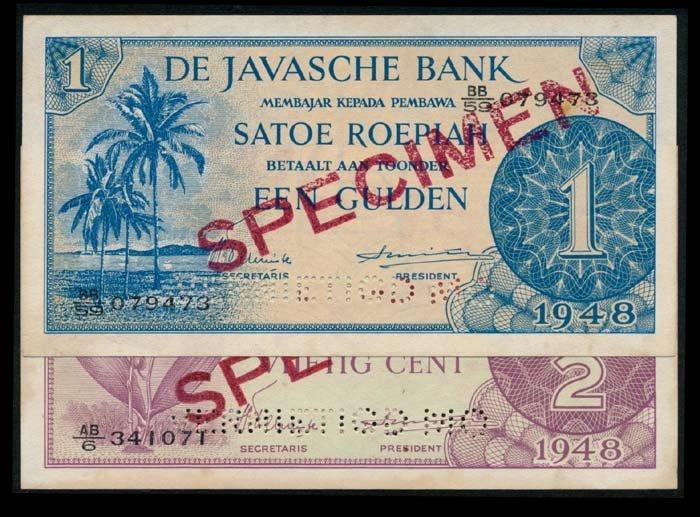 Netherlands Indies 1/2-1Gulden 1948 specimen