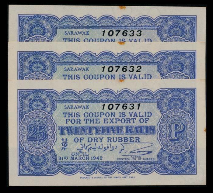 Sarawak Rubber Export Coupons 3x25Katis 1942