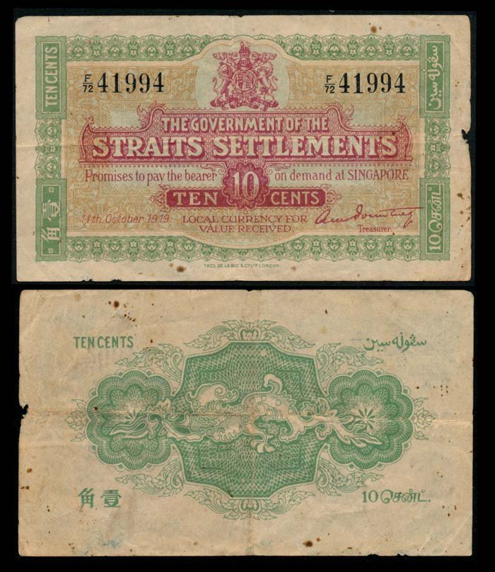 Straits Settlements 10c 1919 Treasurer