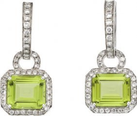 59660: Peridot, Diamond, White Gold Earrings