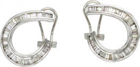 59661: Diamond, White Gold Hoop Earrings