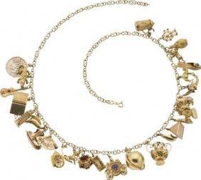 Multi-Stone, Enamel, Gold Charm Necklace