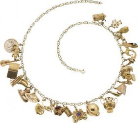 59664: Multi-Stone, Enamel, Gold Charm Necklace