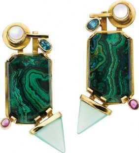 59668: Multi-Stone, Gold Earrings, Michael Sherman