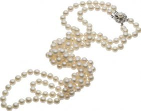 59670: Cultured Pearl, Silver Necklace