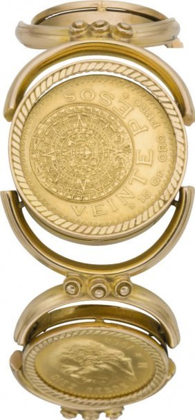 Five Mexican Gold Coins, Gold Bracelet