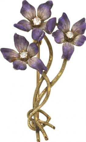 59677: Diamond, Enamel, Gold, Flower Brooch