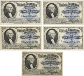 47364: Columbian Exposition: Five Admission Tickets