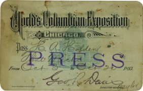 47377: Columbian World's Fair: Press Pass,