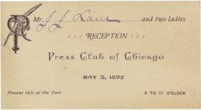 Columbian World's Fair: Press Club Chicago Pass