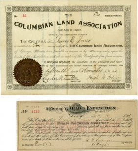 47379: Columbian World's Fair 2 Documents Louis Jones