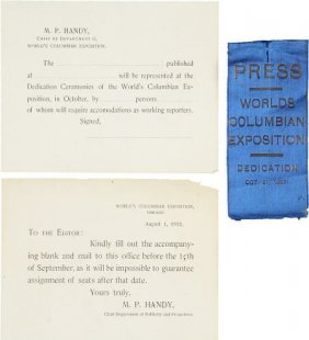 47381: World Columbian Expo Printed Docs & Press Badge