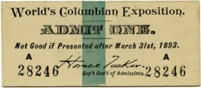 47384: World's Columbian Exposition: Pre-Opening Ticket