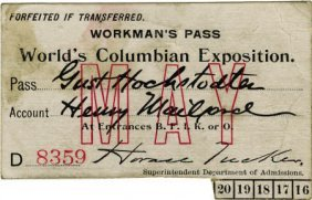 47385: World's Columbian Exposition: Workman's Pass.