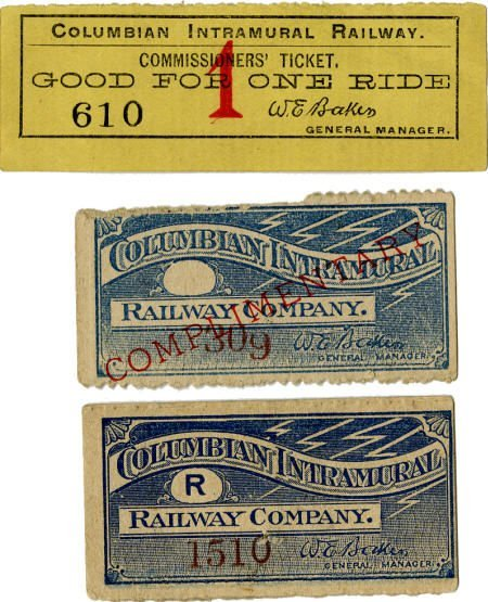 47412: World's Columbian Exposition Three WCIR Tickets