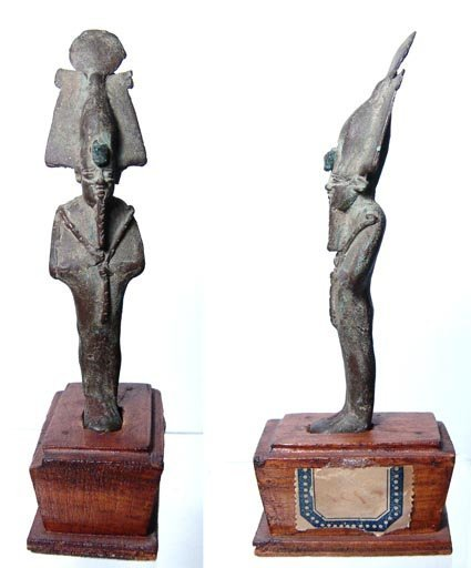 9: A Late Period bronze statuette of Osiris