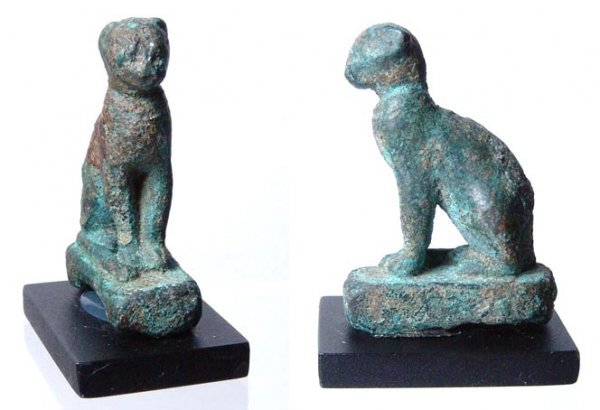 12: A Late Period bronze statuette of Bastet in feline-
