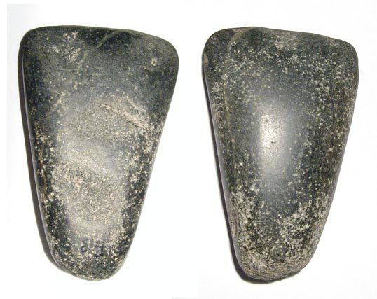 17: A nice Pre-Dynastic greenish black basalt axe-head
