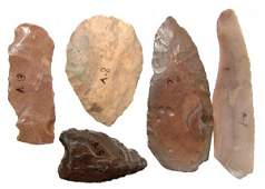 25: Pre-Dynastic Egypt, A lot of 5 nice stone tools, ex