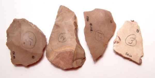 2:  Acheulean, c. 400,000 Years B. P. A lot of 4 flint