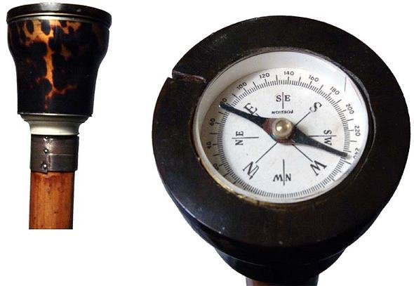 """2: Attractive """"compass"""" cane. Cylindrical cage handle s"""