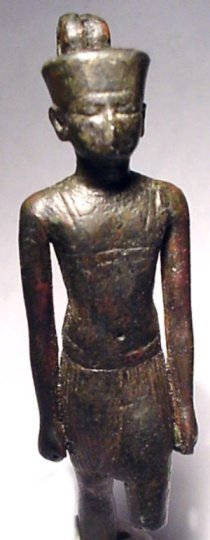 2: A bronze statuette-amulet of the god Atum,