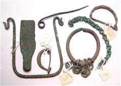 1088: Roman, Mixed lot of various bronze items from the