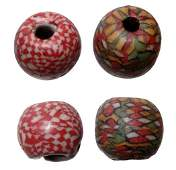 236: Pair of 2 Beautiful Fused Mosaic Beads. Quality!!