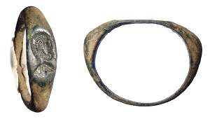 252 ROMAN BRONZE RING WITH NICE INCISED DESIGN