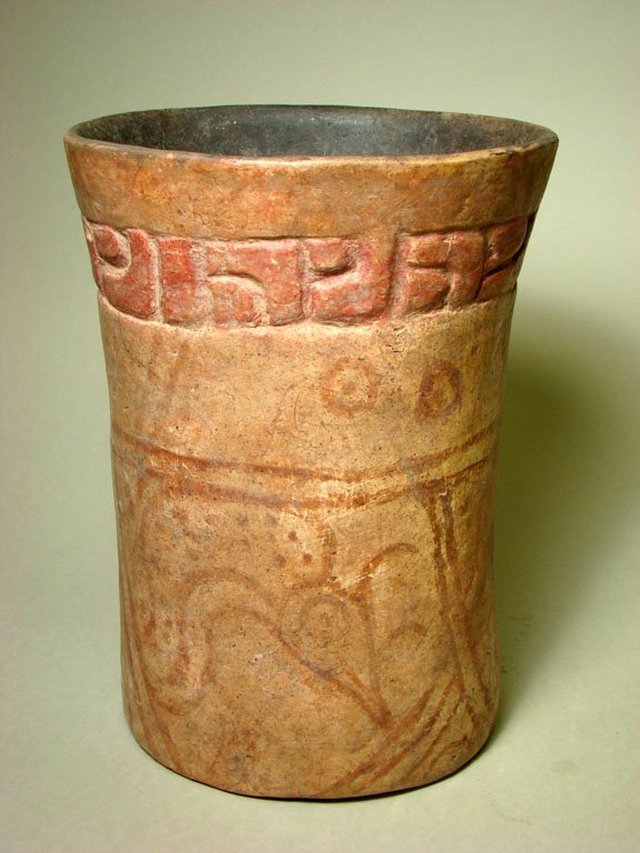 21: An Impressive Mayan Cylinder w/ Incised Decoration