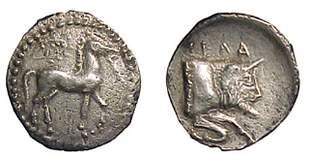 -, AR Litra. 0.78gc. 465 - 450 BC, Bridled horse w