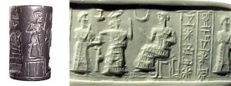 936: Old Babylonia, c.1900 – 1800 BC. A hematite cylind