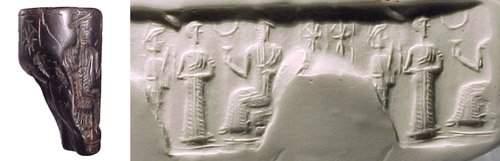938: Old Babylonia, c.1900 - 1800 BC. A hematite cylind